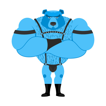 Gay bear symbol of sexual community. Big strong blue bear. Tons powerful wild animal in  leather suit Illustration