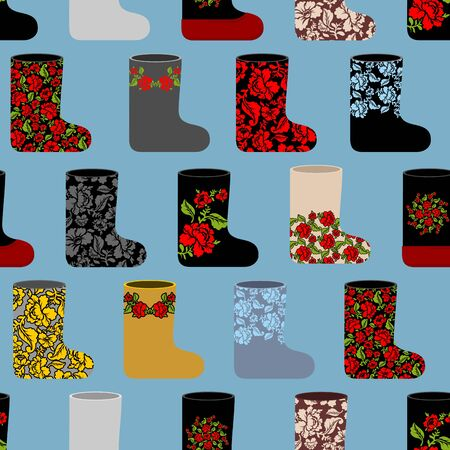 valenki: Russian traditional winter shoes seamless pattern. Valenki background. Flower ornament  national footwear in Russia.