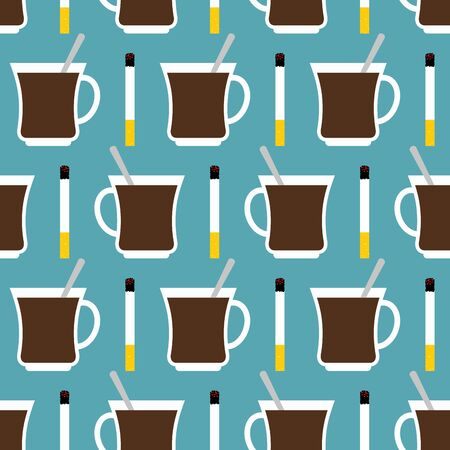 invigorating: Coffee cup and cigarettes seamless pattern. Best of day sat down to texture. Invigorating drink and smoking tobacco accessories ornament