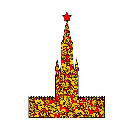pastiche: Tower Moscow Kremlin silhouette painted Khokhloma. Russian Landmark on red square. Showplace Traditional folk pattern. symbol of Russia