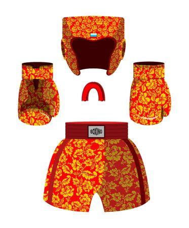 khokhloma: Russian patriotic boxing set. Boxing gloves and cap. Boxing helmet and shorts. National Khokhloma pattern. Sports symbols Illustration