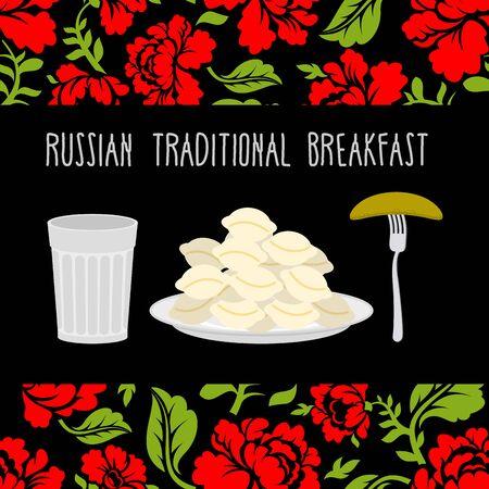 pickle: Russian traditional breakfast: vodka, dumplings and pickle. Russian flower ornament.