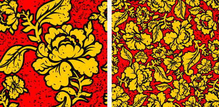 pastiche: Khokhloma in grunge style. Flowers and noise and scratches. Traditional Russian Folk seamless pattern. Yellow, gold flowers on red background and brush strokes. Patriotic Flower texture. Historic Cultural Decorative seamless pattern