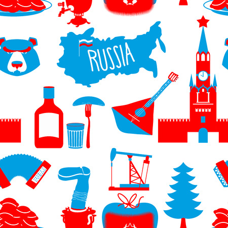 chai: Russian symbols seamless pattern. Russia national ornament. State traditional background. Moscow Kremlin and bear. Map of Russia and samovar. Earflaps and balalaika. Dumplings and vodka. dumplings and Oil pump