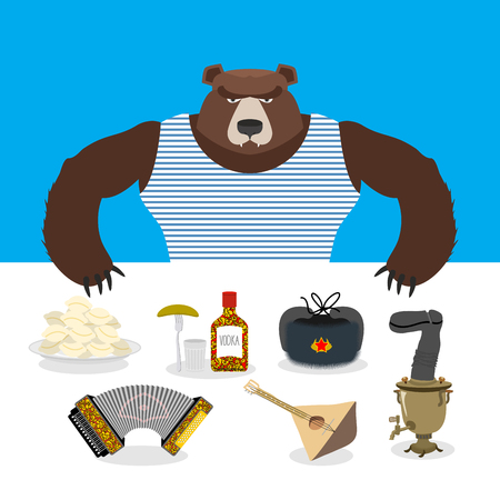 wooden shoes: Russian Bear sells souvenirs. Russian traditional national symbols. Accordion and balalaika. Dumplings and a samovar. Vodka and earflaps Illustration