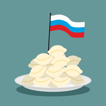 delicacy: Dumplings Russian national patriotic food. Russian flag in plate with food. Traditional folk delicacy among Russian people