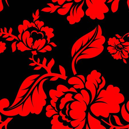 red rose black background: Red Rose seamless pattern. Floral texture. Russian folk ornament. Red flowers on black background. Vintage pattern in traditional Russia style