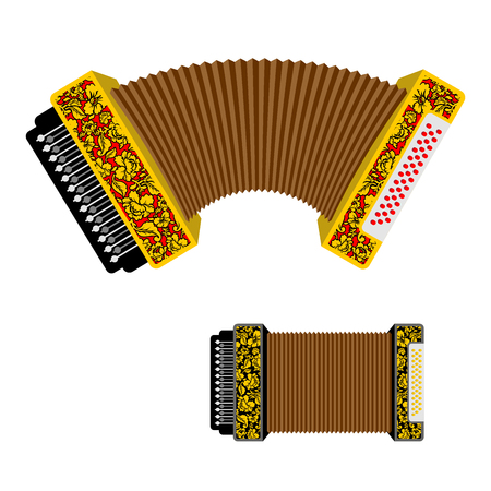 concertina: Russian accordion musical instrument. harmonic  National folk jukebox. Decorated with traditional pattern painting Khokhloma Illustration