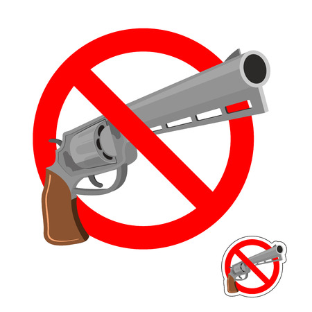 murder: Stop gun. Prohibited entry of weapons. Colt crossed out. Emblem against revolver. Red prohibition sign. Ban murder