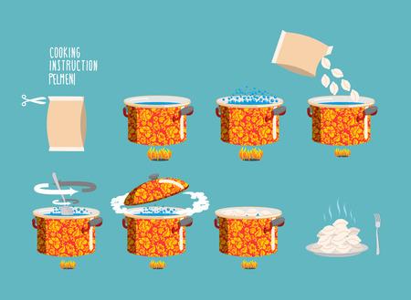 Pelmeni Kochanleitung. Home Cooking Rezept. Kochrezept Fleischknödel, Schritt für Schritt Anweisungen, Zutaten. Set Töpfe Infografiken