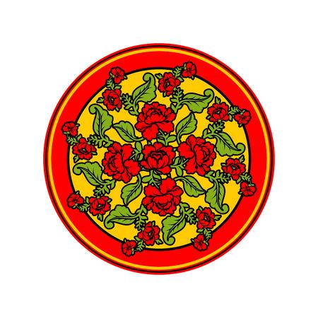 Russian national pattern Hohloma. Retro Floral ornament. Round decorated dish. Historic traditional decorative ornament culture Illustration