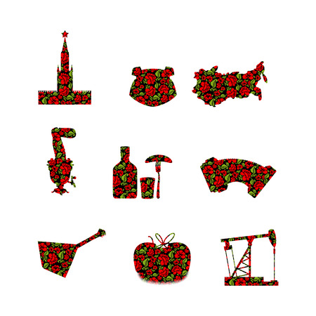 red square moscow: Russia symbol set. Russian national sign painted Khokhloma. State Traditional objects. Moscow Kremlin and bear. Map of Russia and smovar. Earflaps and balalaika. Dumplings and vodka. Landmark Traditional folk pattern