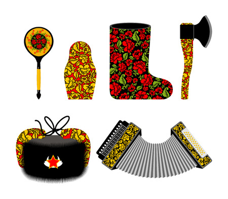 souvenir: Russian souvenir set Khokhloma painting. Russia traditional national symbols. Spoon and matryoshka. Decorative Valenok and painted axe. Earflaps hat and harmonica, accordion