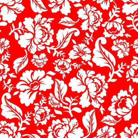 白は、赤の背景の伝統的な飾りロシア ホフロマに上がりました。花のシームレスなパターン。ヴィンテージ植物テクスチャ。花の背景