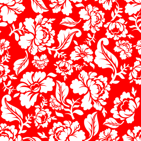 White rose on red background traditional Russian ornament Khokhloma. Floral seamless pattern. Vintage Flora texture. Floral background Illustration