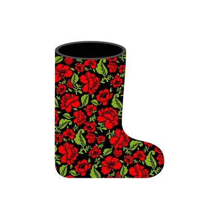felt: Valenki - Russian traditional winter boots. National shoe from felt. Warm accessory with floral texture khokhloma.