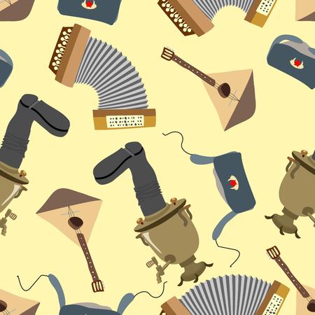 samovar: Ornament Russia. Balalaika, Samovar, Ushanka, accordion. Seamless pattern background Illustration