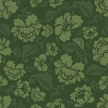 khokhloma: Military texture Khokhloma. Protective Army ornament. Russian National Soldier background. Camouflage seamless pattern for soldiers clothing. khaki flower