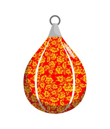 khokhloma: Boxing pear in Khokhloma style. Russian Traditional national floral pattern. Russia Patriot sports accessories for boxing