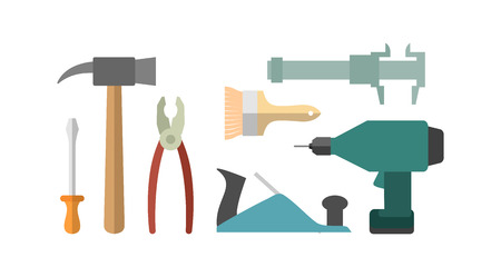 rasp: Carpentry tools. Screwdriver and drill. Hammer and caliper. pliers and screwdriver. Planer and brush.