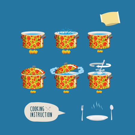 home cooking: Instruction cooking. Set pots infographics. Home Cooking Recipe. step by step instructions, ingredients. Illustration