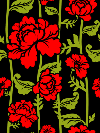 soulful: Red Roses on long stems. Seamless pattern of flowers