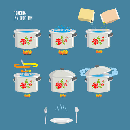 instruction: Instruction cooking. Home Cooking Recipe. cooking recipe, step by step instructions, ingredients. Set pots infographics