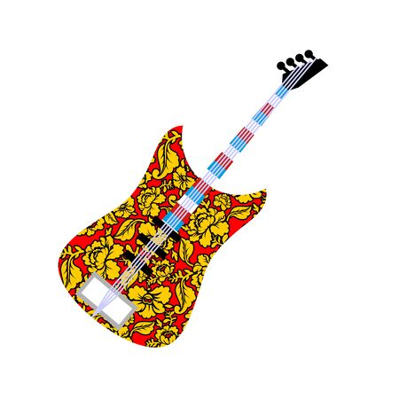 fretboard: Russian national guitar. Musical instrument and traditional pattern Khokhloma. Russian flag on fretboard electric guitar