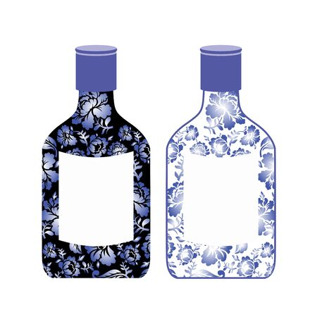 alcoholic drink: Russian vodka bottle painted Gzhel. National Folk alcoholic drink. Traditional pattern in Russia