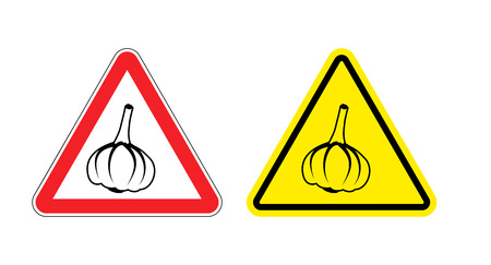 unpleasant: Warning sign garlic attention. Dangers yellow sign stench. Vegetables on red triangle. Set of road signs against unpleasant odor. Caution garlic Illustration