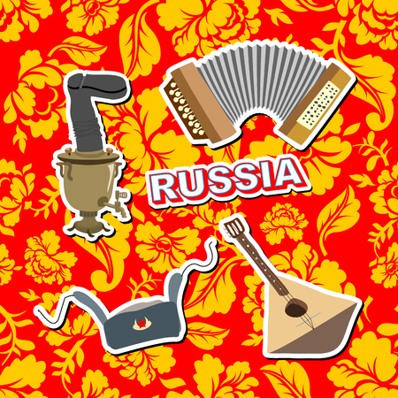 balalaika: Set russian icons.  Balalaika, Samovar, Ushanka, accordion. background painting Khokhloma Illustration