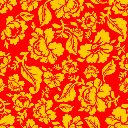 hohloma: Russian national pattern Hohloma. Traditional Folk Ornament in Russia. Yellow flowers on red background. Patriotic Flower texture. Historic Cultural Decorative seamless design