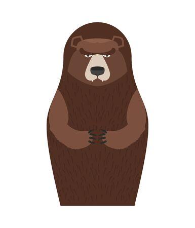 souvenir traditional: Russian Matryoshka bear. People souvenir. Traditional national toy doll.