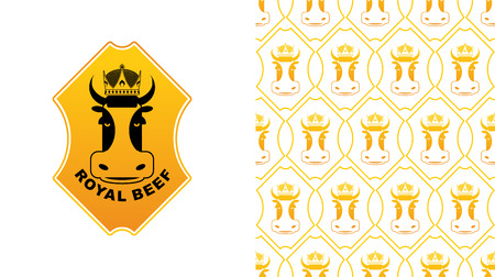 excellent quality: Royal Beef. Cow in crown. Excellent quality meat. Farming and meat production. Farm animals and diadem pattern Illustration