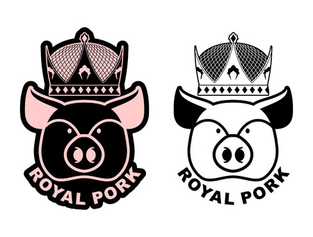 royal quality: Royal pork emblem. Pig in crown.Farming and meat production. Excellent quality and taste of food. Delicacy for emperor. Royal bacon.