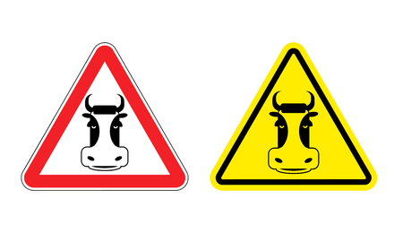 yellow attention: Warning sign beef attention. Dangers yellow sign cow. Farm animal on red triangle. Set of road signs against beef. Attention beefs