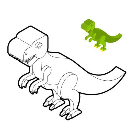 reptiles: Tyrannosaurus coloring book. Dinosaur isometric style. Prehistoric monster linear style. Cute dino. Ancient reptiles of Jurassic period. T-rex predator animal