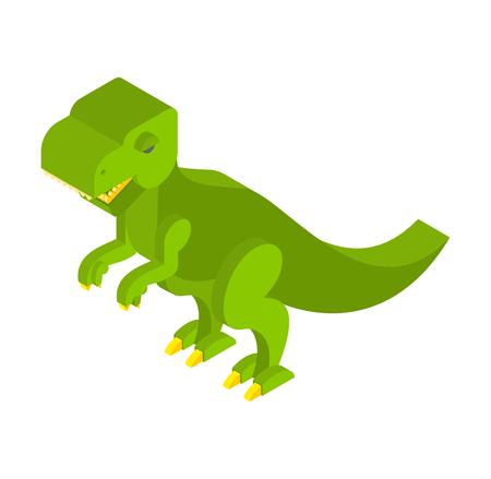 terrific: Dinosaur Tyrannosaurus isometric. Prehistoric monster with teeth 3D. Ancient reptile of Jurassic period. T-rex animal predator