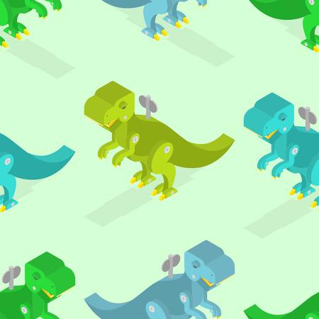 winder: Toy dinosaur seamless pattern. Clockwork Tyrannosaurus Rex isometrics. Prehistoric lizard texture. Children fabric pattern ancient animal predator