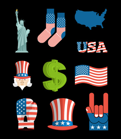 national landmark: America symbol set. USA National Landmark. State traditional icons. Map and  flag United States. Statue of Liberty and Uncle Sam. Dollar and star. Patriot collection