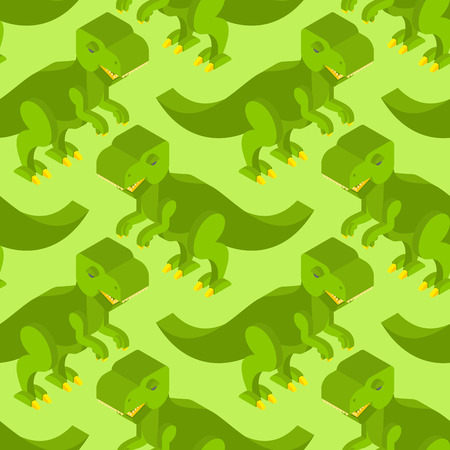 enormous: Tyrannosaurus isometric texture. Dinosaur seamless pattern. Prehistoric monster with teeth. Ancient reptile of Jurassic period. T-rex predator animal background. Ornament for baby fabric