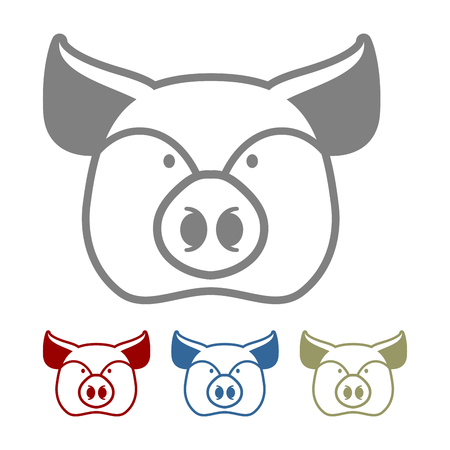 porcine: Pig icon flat style. Head farm animal stencil. Cute pork