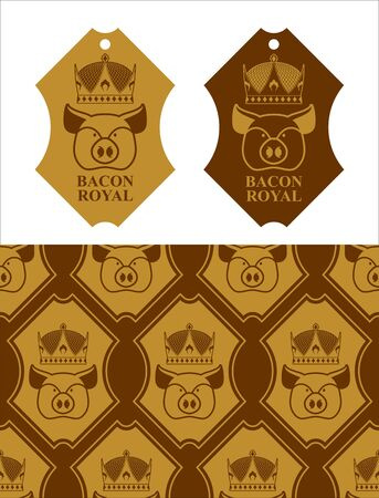 excellent quality: Royal Bacon emblem. Pig in crown. farming and meat production. Excellent quality and taste of  food. Pork for emperor.