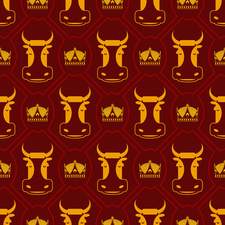 animal texture: Royal beef seamless pattern. cow and crown regal background. Farm animal texture Illustration