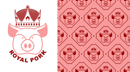 excellent quality: Royal Pork. Pig in crown. Production of meat. Excellent quality and taste of food. Meal for emperor. Royal bacon patern. Farm animal texture