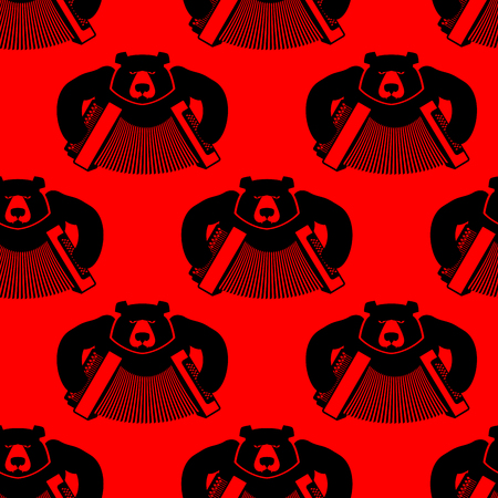 national animal: Bear with accordion seamless pattern. Wild beast and musical instrument. Russian bear and harmony. Russian National animal texture.