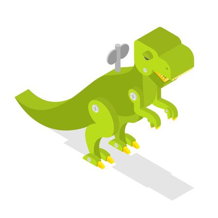 cute dinosaur: Toy dinosaur. Tyrannosaurus Rex isometrics. Prehistoric lizard. Cute retro Clockwork Robot  Dino. Ancient Jurassic beast. T-rex predator animal