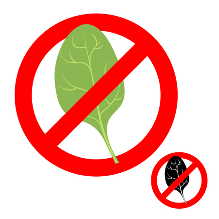 greens: Stop ban spinach. Prohibited greens salad. Strikethrough green spinach leaf. Emblem against vegetarianism. Red prohibition sign.
