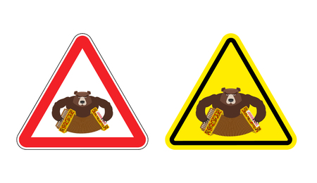 dangers: Warning sign drunk Russian tourist attention. Dangers yellow sign people from Russia. Bear with accordion on red triangle. Set of road signs against an aggressive tourer. Attention angry bully
