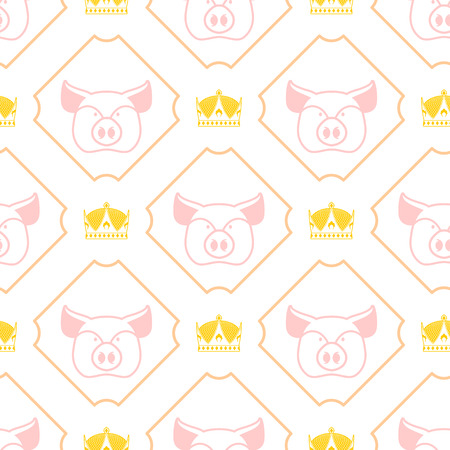 regal: Royal pork seamless pattern. Pig and crown regal background. Farm animal texture